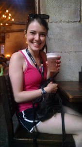 Enjoying a butterbeer in the Leaky Cauldron